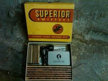 SUPERIOR SWIFTSET RUBBER STAMP MAKING KIT INKING TOOL ORIGINAL OFFICE STORE BOX