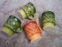 FIREKING ANCHOR HOCKING MUG COFFEE CUP GREEN ORANGE KIMBERLY STYLE RETRO GLASS TABLEWARE