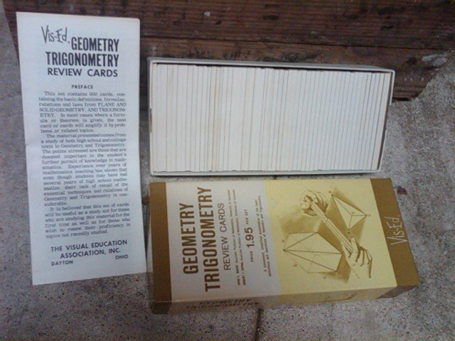 GEOMETRY TRIGONOMETRY REVIEW FLASH CARD GAME VIS ED VISUAL EDUCATION DAYTON OHIO ORIGINAL CARDBOARD BOX
