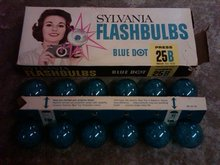SYLVANIA BLUE DOT FLASHBULB PRESS 25B TYPE CAMARA PHOTOGRAPHY ACCESSORY