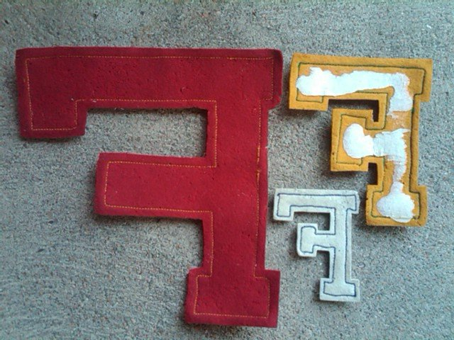 VARSITY LETTER F HIGH SCHOOL JACKET PATCH FOOTBALL SPORT ACHIEVEMENT AWARD APPAREL ACCESSORY