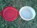 Retro Red Plastic Tupperware Pie Caddy Cake Dessert Carrier Bakery Transport Tub