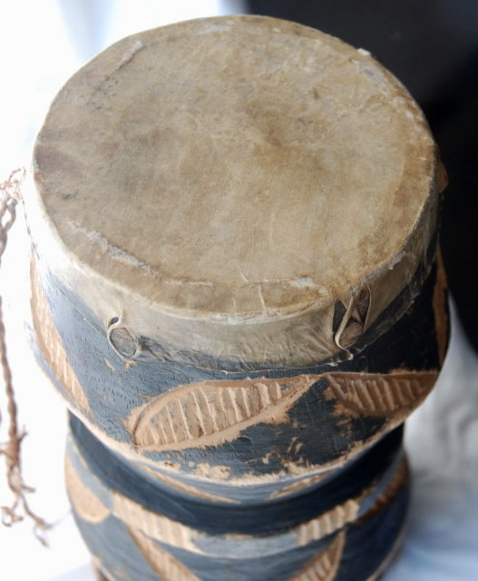 Two Headed  Tribal Hand Drum, Hand Carved Goatskin Old Primitive   **PRICE REDUCED**!