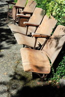5 Antique Art Deco Theater Seats.From the Old  Meridian Theater in Puyallup WA.   Wood, Iron Folding seats all original