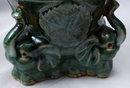 Majolica Drip Glaze Elephants Pottery Planter.   ** PRICE REDUCED !**