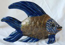 Old Mexican Brass & Talavera Majolica Pottery Fish Sculpture