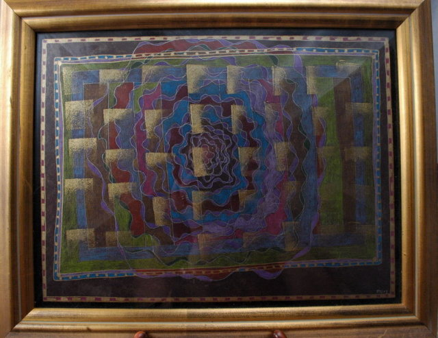 Abstract Pastel Painting, Framed & Signed