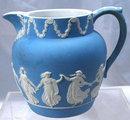 Antique Wedgwood Blue Jasperware Milk Pitcher