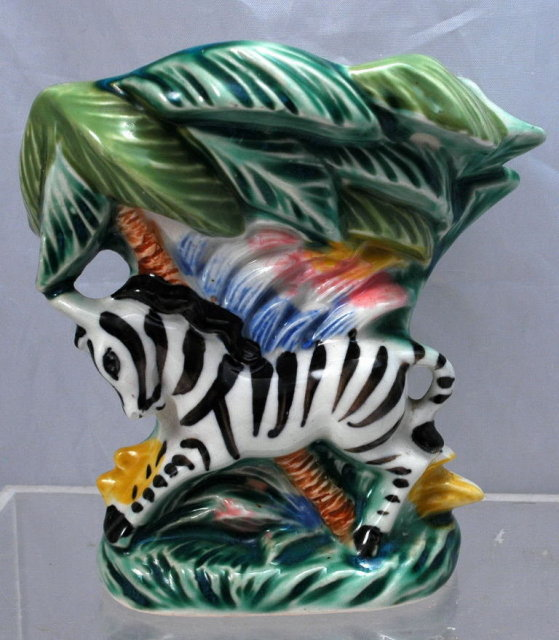 Ceramic Zebra Wall Pocket  ( possible Fitz & Floyd)