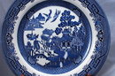 4  BLUE WILLOW PLATES  Churchill Staffordshire 10