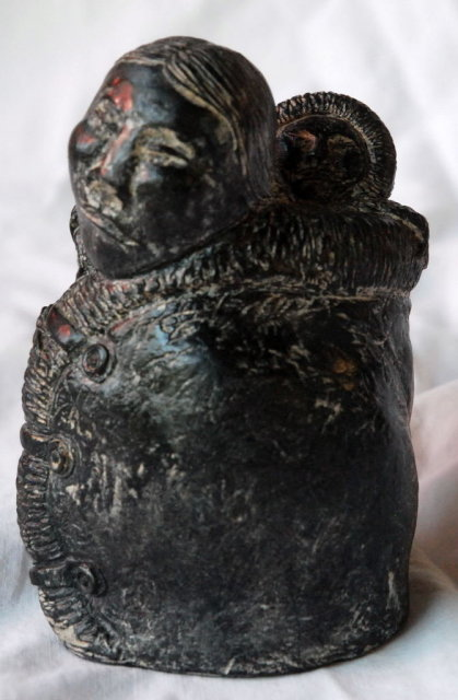 Soapstone Sculpture, Carving Eskimo/ Inuit Woman & Baby, A. Wolf of Canada