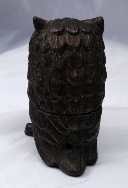 Old Figural  Metal Owl Incense Burner