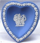 Blue Jasperware Heart Shaped Dish
