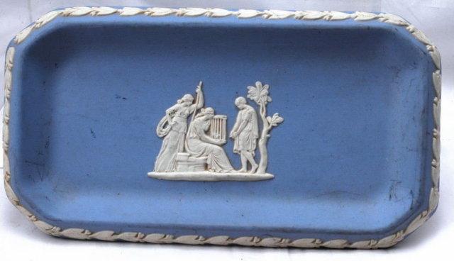 Blue Jasperware Rectangle Pin Tray or  Dish