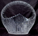 Large   Brilliant Cut  Etched Crystal Glass Basket