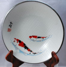 ARTIST SIGNED JAPANESE KOI CARP HAND PAINTED BOWL