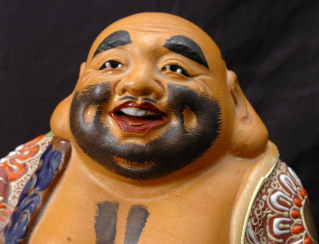 Laughing Hotei MORIAGE FIGURE STATUE JAPANESE BUDDHA   Artist Signed !