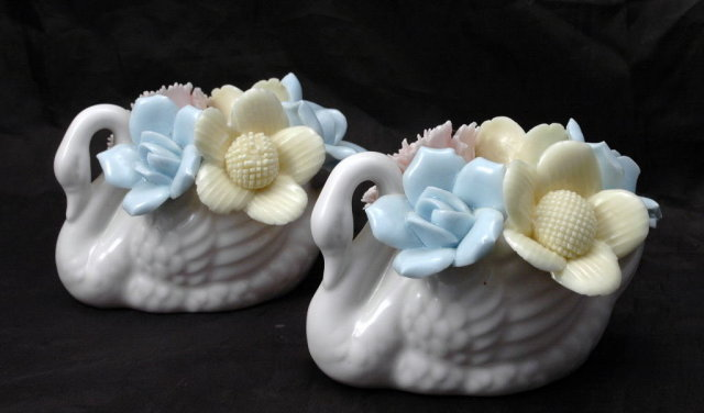 Porcelain Swans Candle Stick Holders Arco Fine Quality Dallas made in Japan