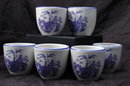 Set of Six Hall China Chinese Blue Willow Tea Cups