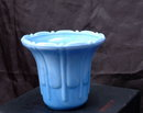 Akro Agate Fluted Vase  Pot Slag Glass Delphite Blue Vintage Art Deco