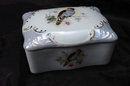 Porcelain Cigarette or Dresser Box, Hand painted Bird Design