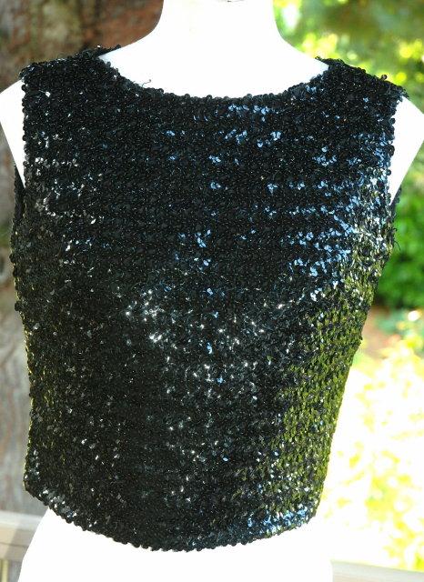 Vintage Black Sequin Top , zippered back