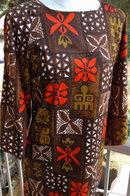 Pomare'Tahiti Retro Hawaiian Barkcloth Dress Slit Open Shoulders and  Flared Sleeves