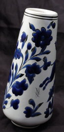 White Porcelain  Vase with Cobalt Blue Enameling  Deer and Flowers,  Marked Dakas Rodos