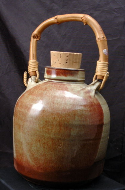 Old Japanese Earthenware Sake Jug or Bottle  Natural glaze