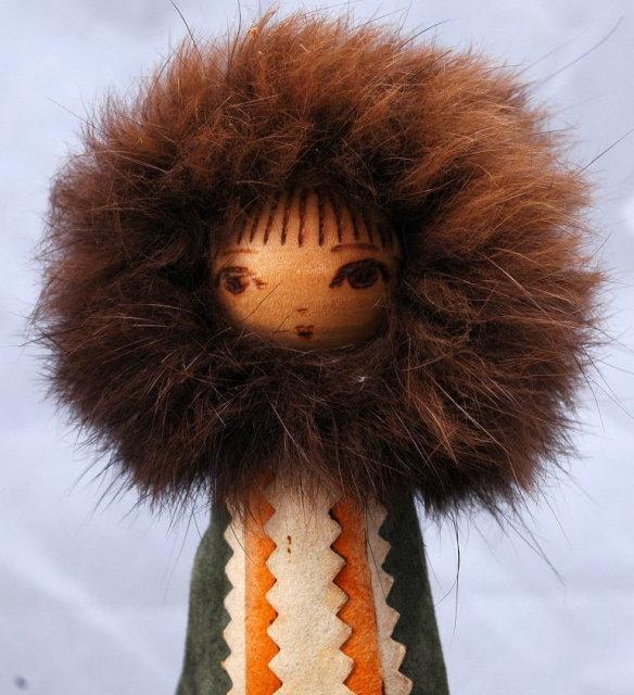 Folk ART Eskimo Leather & Fur Hand Painted Wooden Peg Doll
