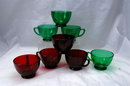 8 Ruby Red & Forest Green Anchor Hocking Punch Cups
