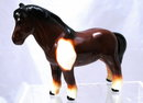Brown Black White  Ceramic Draft  Horse Wales Japan