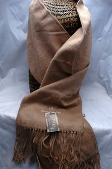 Brushed Alpaca Wool Scarf with Fringe from Peru