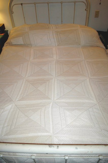 Vintage Crochet Ecru & Light Beige  Bedspread  Popcorn  Nubby Squares  148