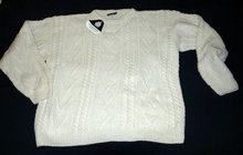 100% Wool Irish Fisherman Sweater by Christian Pierre  New with Tag