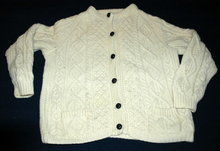 Vintage Irish Fisherman Aran Knit Cardigan Sweater small