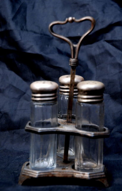 Victorian Forbes Silver Plate Co.  Crystal Shakers & Caddy