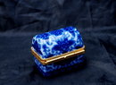 Shibata of Japan Blue White Porcelain Mini Trinket Box Chest