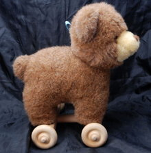 Douglas Co. Cuddle Toy Plush Bear  & Wood Pull Cart Toy