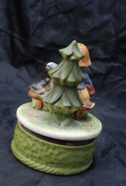 Old Bisque Rotating  Music Box, Girl with Puppy   **PRICE REDUCED**!