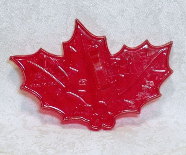 HRM Vintage Red Plastic Cookie Cutter - Christmas Holly