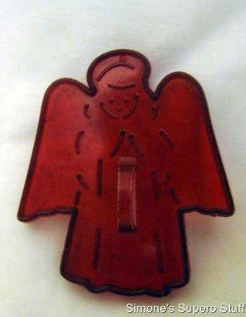 HRM Vintage Red Plastic Cookie Cutter - Christmas Angel