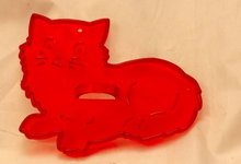 HRM Vintage Red Plastic Cookie Cutter -  Kitty Cat