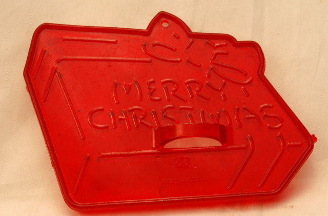 HRM Vintage Red Plastic Cookie Cutter  Christmas Present