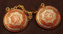 Spanish Damascene Sweeter Clips  Brass, Red White Enameling
