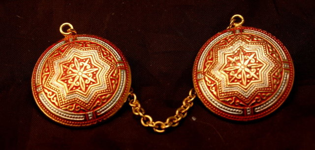 Spanish Damascene Sweeter Clips  Brass, Red White Enameling