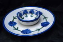 LOUISVILLE Stoneware BACHELOR BUTTON  Veggie or Chip & Dip Serving Dish