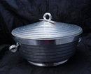 Vintage Stepped Aluminum Ice Bucket - Italian- Mid Century Modernist
