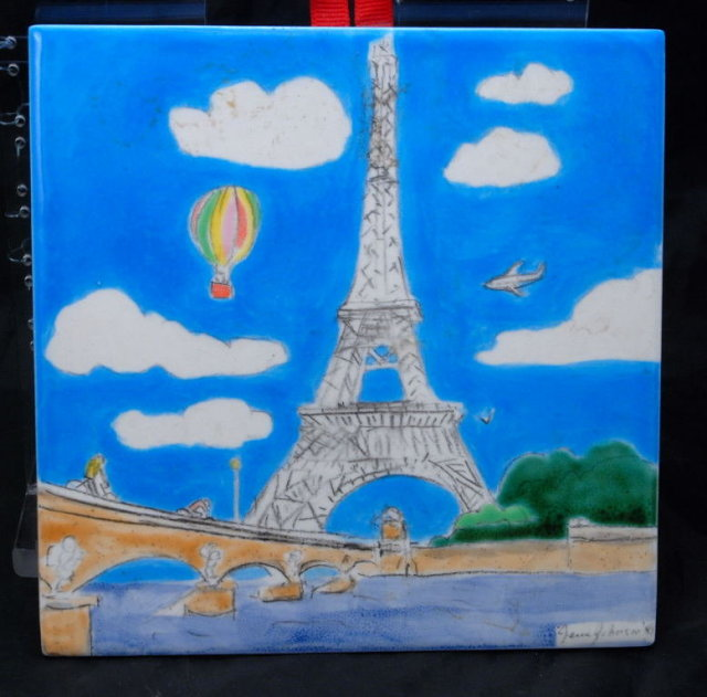 Eiffel Tower Tile, Hand Painted , Signed   Jesse Johanson