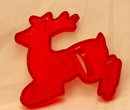 HRM Vintage Red Plastic Cookie Cutter - Christmas leaping Reindeer.